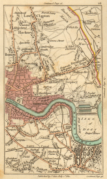 Associate Product EAST END. Hackney,Hoxton,Stratford,Bow,City,Bermondsey,Isle of Dogs 1811 map
