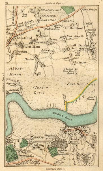 Associate Product WOOLWICH. Greenwich,Stratford,West/East Ham,Charlton,Barking,Plaistow 1811 map