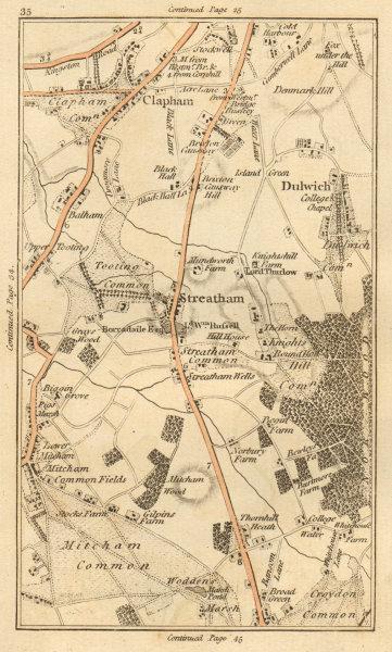Associate Product CLAPHAM. Streatham,Dulwich,Tooting,Mitcham,Croydon,Brixton,Stockwell 1811 map