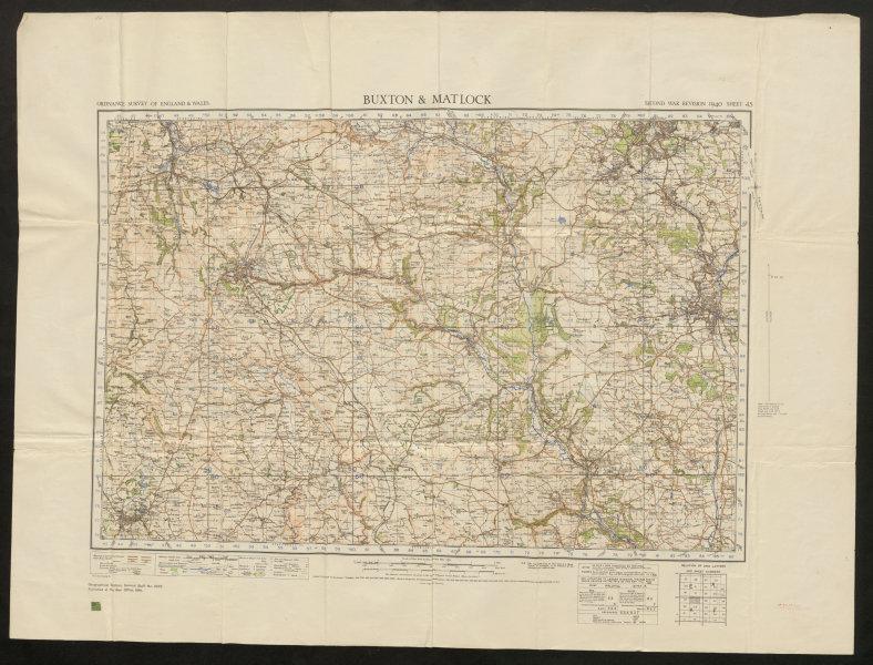 Associate Product War Revision sheet 45 BUXTON & MATLOCK. Chesterfield. ORDNANCE SURVEY 1941 map