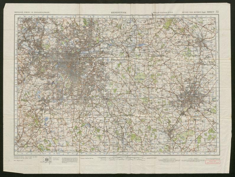War Revision Sheet 72 BIRMINGHAM Coventry West Midlands ORDNANCE SURVEY 1942 map
