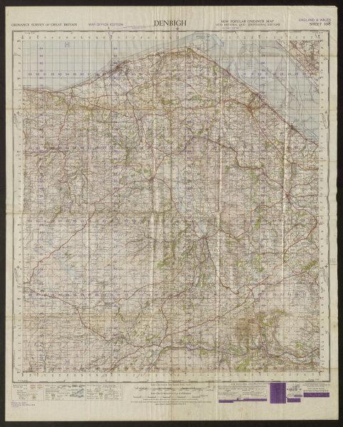 Associate Product War Office Sheet 108 DENBIGH. Wales Rhyl Mold Flint Dee ORDNANCE SURVEY 1949 map