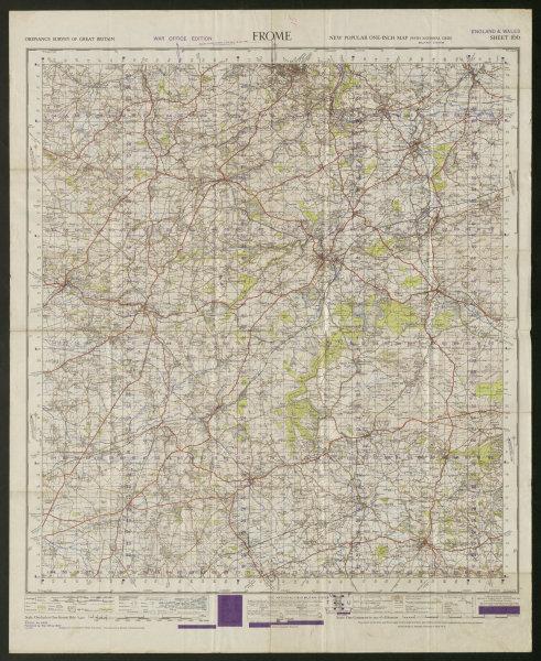 War Office Sheet 166 FROME. Somerset Bath Wincanton. ORDNANCE SURVEY 1947 map