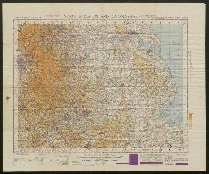 Associate Product War Office Sheet 6 NORTH MIDLANDS & LINCOLNSHIRE. ORDNANCE SURVEY 1948 old map