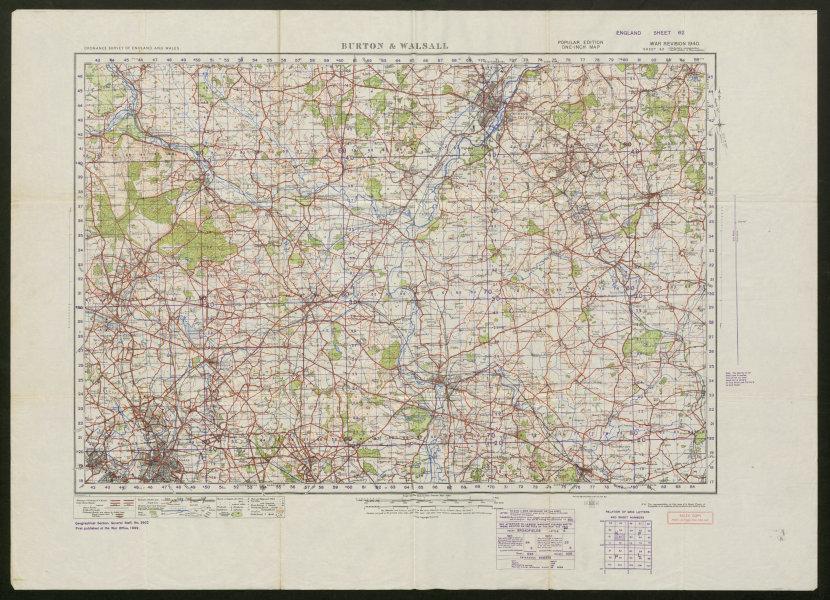 Associate Product War Revision 1940 Sheet 62 BURTON & WALSALL. Lichfield. ORDNANCE SURVEY 1940 map