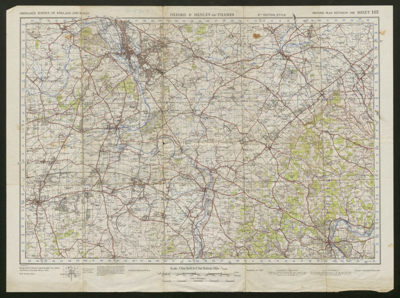 Associate Product War Revision Sheet 105 OXFORD & HENLEY-on-THAMES Valley ORDNANCE SURVEY 1941 map