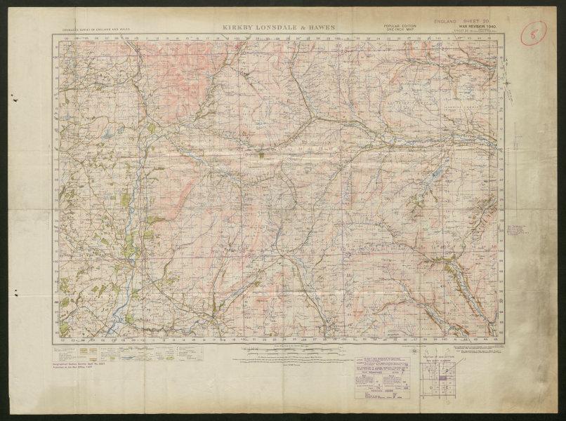 War Revision Sheet 20 KIRKBY LONSDALE & HAWES. ORDNANCE SURVEY 1940 old map