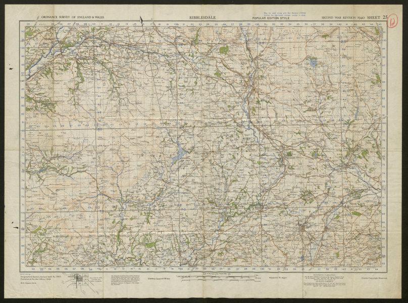 Associate Product War Revision Sheet 25 Ribblesdale. Yorkshire Dales. ORDNANCE SURVEY 1940 map
