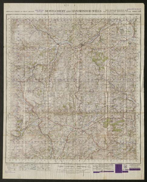 Associate Product War Office Sheet 128 MONTGOMERY & LLANDRINDOD WELLS. ORDNANCE SURVEY 1949 map