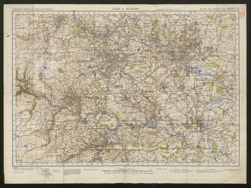 Associate Product War Revision Sheet 31 LEEDS BRADFORD Halifax Wakefield ORDNANCE SURVEY 1942 map