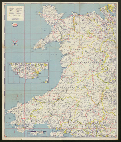 Associate Product First Series Esso Road Map No 4 Wales and Midlands. ESSO c1950 old vintage