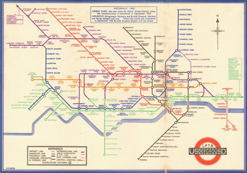 LONDON UNDERGROUND tube map plan diagram. 2nd HARRY BECK edition. August 1933