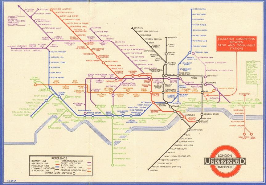 Associate Product LONDON UNDERGROUND tube map plan diagram. 33-2791 HARRY BECK. September 1933