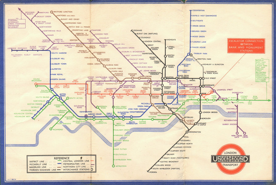 LONDON UNDERGROUND tube map plan diagram. Middle Circle. HARRY BECK #2 1934