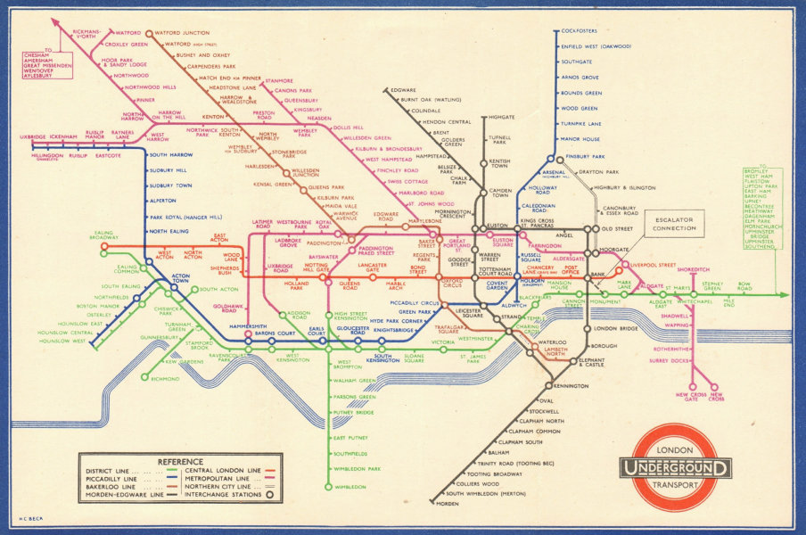 LONDON UNDERGROUND tube map plan diagram. Middle Circle. HARRY BECK #1 1937