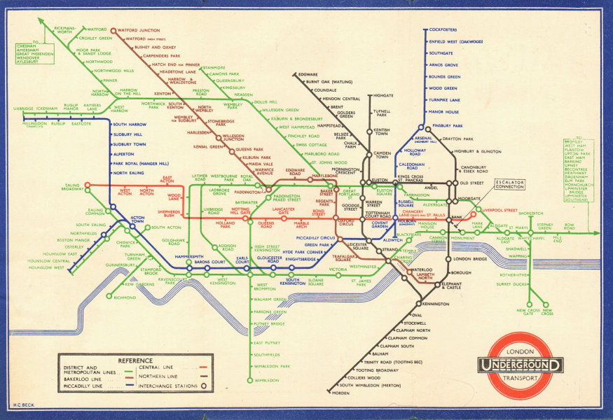 LONDON UNDERGROUND tube map plan diagram. Middle Circle. HARRY BECK #1 1938