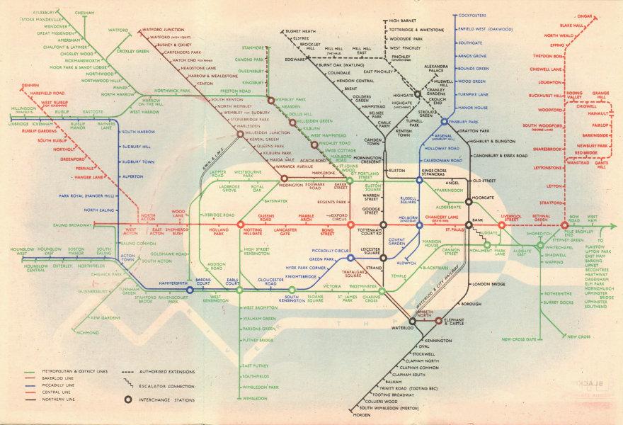 Associate Product LONDON UNDERGROUND tube map plan diagram. Northern Heights SCHLEGER/ZERO #1 1939