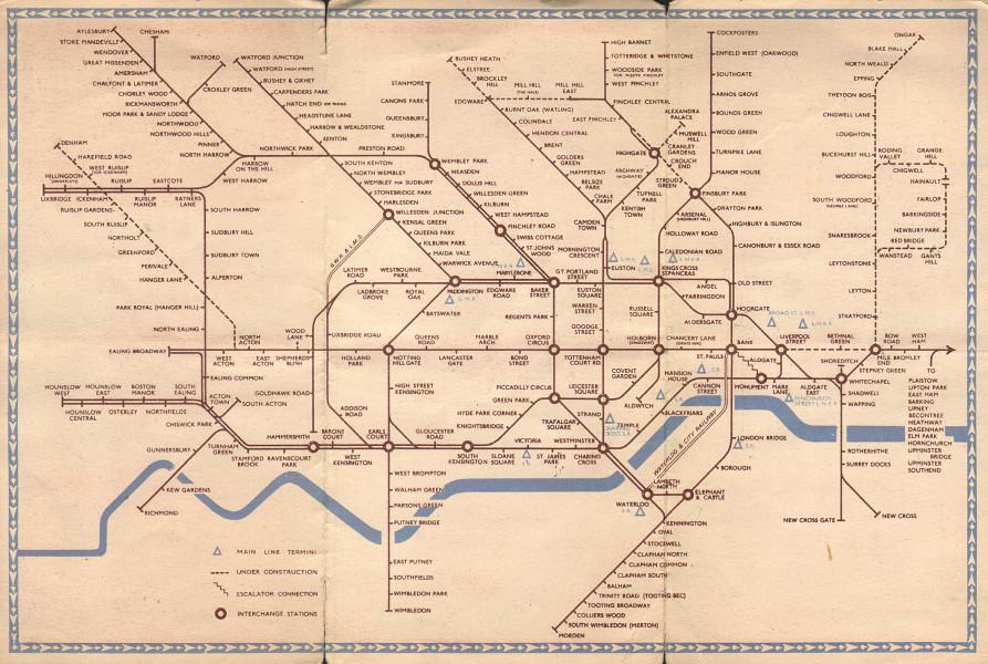 Associate Product LONDON UNDERGROUND tube map plan diagram. Northern Heights SCHLEGER/ZERO #1 1941