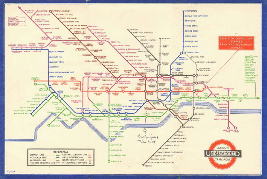 LONDON UNDERGROUND tube map plan diagram. Middle Circle. HARRY BECK #2 1935