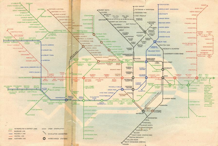 Associate Product LONDON UNDERGROUND tube map plan diagram. Northern Heights SCHLEGER/ZERO #2 1939