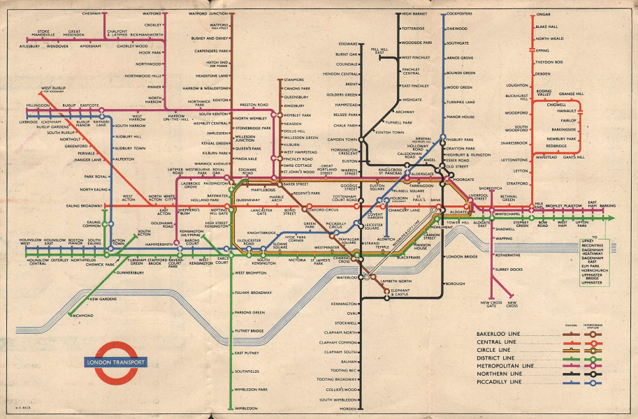 LONDON UNDERGROUND tube map plan diagram. South Acton. HARRY BECK 1953 old