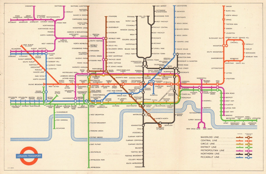 LONDON UNDERGROUND tube map plan diagram. South Acton. HARRY BECK 1954 old