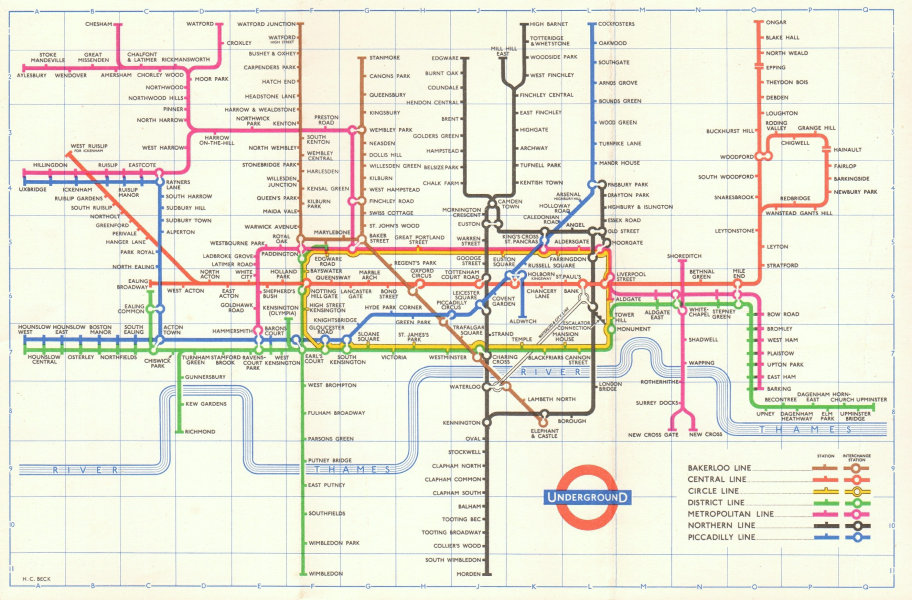 LONDON UNDERGROUND tube map plan diagram. Final HARRY BECK edition 1960