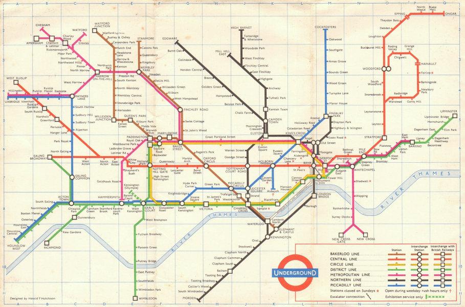 Associate Product LONDON UNDERGROUND tube map plan. 1st HARRY HUTCHISON version. September 1961