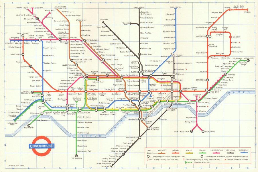 Associate Product LONDON UNDERGROUND tube map plan diagram. 1st PAUL GARBUTT edition 1964