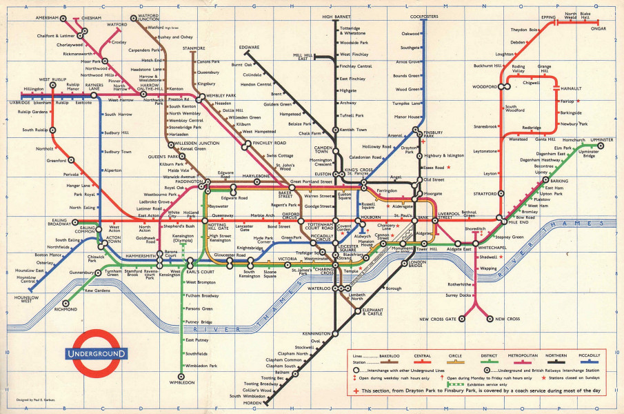 Associate Product LONDON UNDERGROUND tube map plan diagram. PAUL GARBUTT. August 1966 old