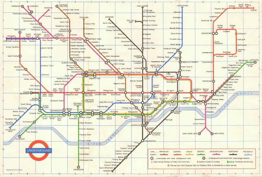 Associate Product LONDON UNDERGROUND tube map plan. Last pre-Victoria Line edition GARBUTT #1 1968