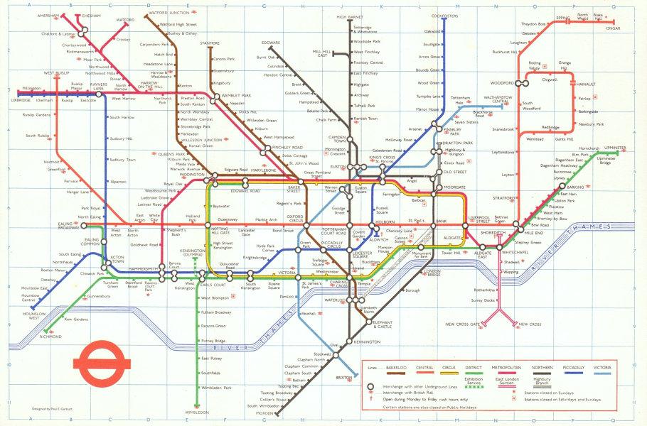 Associate Product LONDON UNDERGROUND tube map plan. Victoria Line complete. PAUL GARBUTT #2 1972