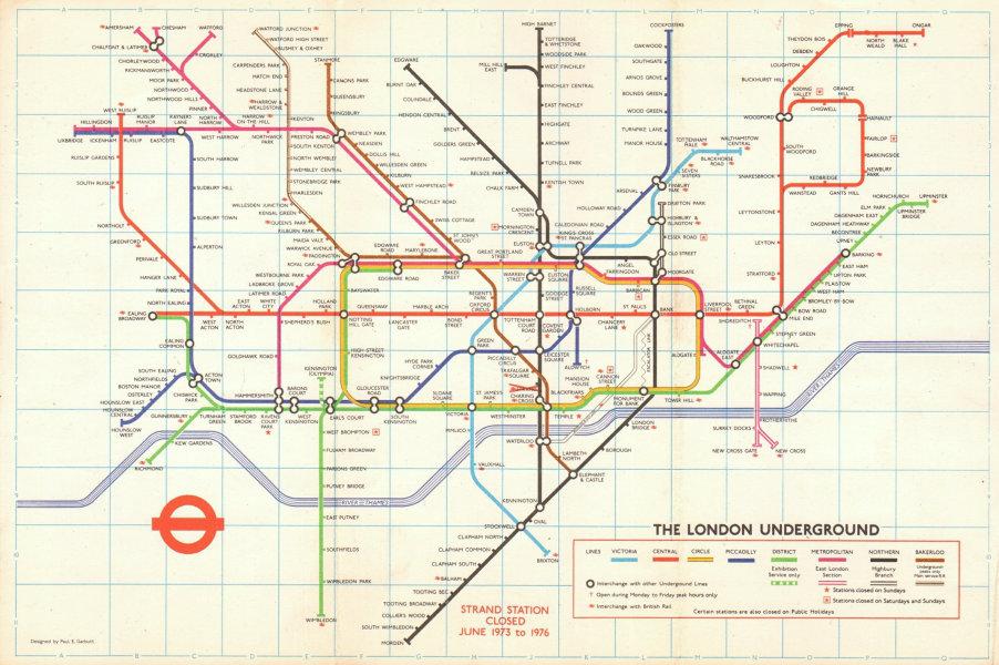 Associate Product LONDON UNDERGROUND tube map plan. Victoria Line. Strand closed. GARBUTT #1 1973