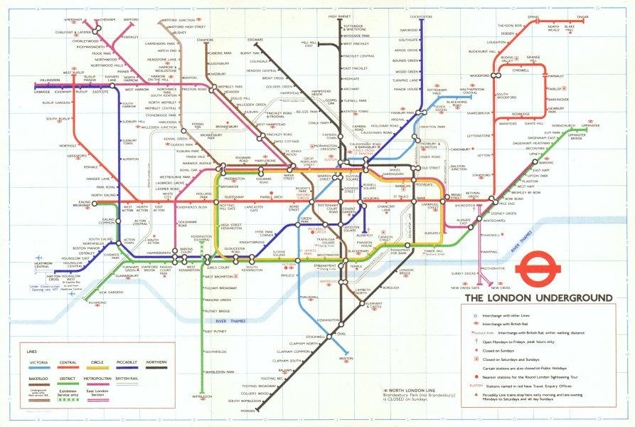 Associate Product LONDON UNDERGROUND tube map. Under construction to Heathrow. GARBUTT #1 1977