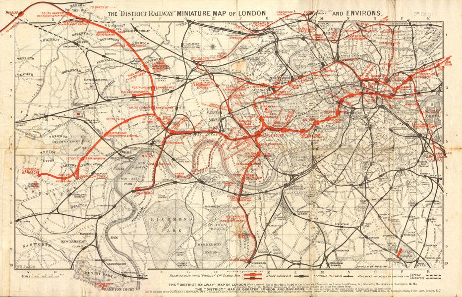 District Railway miniature map of London & environs. Underground. SOAR 1907