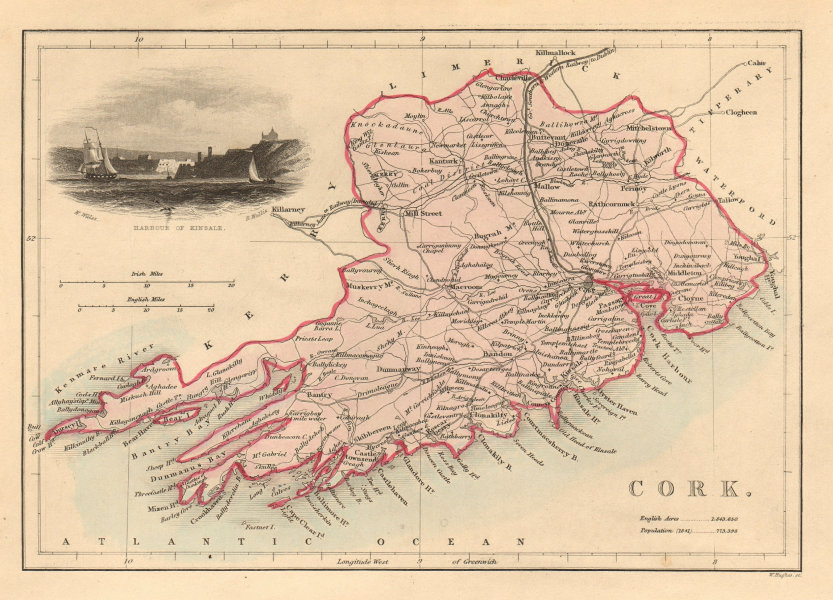 Antique CORK county map by Alfred ADLARD. Ireland 1843 old chart