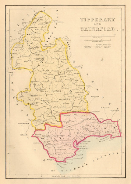 Antique TIPPERARY AND WATERFORD county map by Alfred ADLARD. Ireland 1843