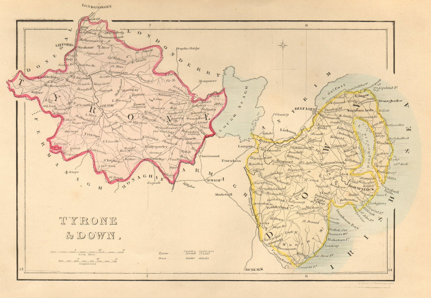 Associate Product Antique TYRONE & DOWN county map by Alfred ADLARD. Northern Ireland Ulster 1843