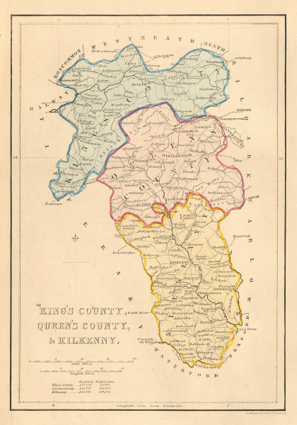 Associate Product Antique KING'S & QUEEN'S COUNTY & KILKENNY map. ADLARD. Offaly Laois 1843