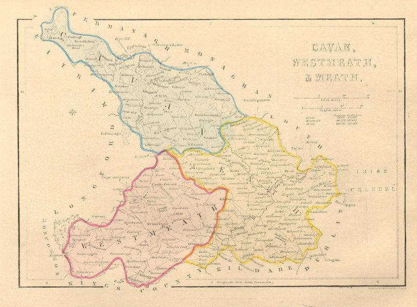 Associate Product Antique CAVAN, WESTMEATH & MEATH county map by Alfred ADLARD. Ireland 1843