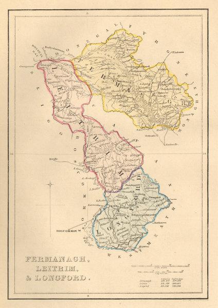 Associate Product Antique FERMANAGH, LEITRIM, & LONGFORD county map. ADLARD. Ireland Ulster 1843