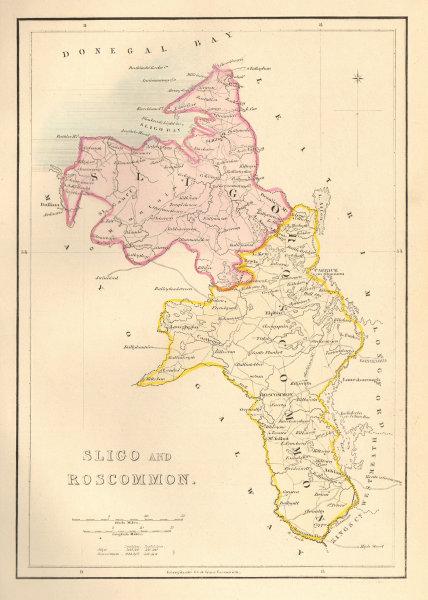 Antique SLIGO AND ROSCOMMON county map by Alfred ADLARD. Ireland 1843 old