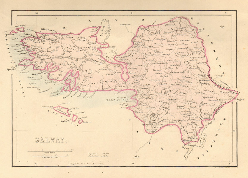 Associate Product Antique GALWAY county map by Alfred ADLARD. Ireland 1843 old chart