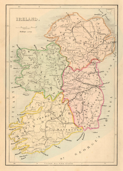 Associate Product Antique map of IRELAND with railways, counties & provinces by Alfred ADLARD 1843