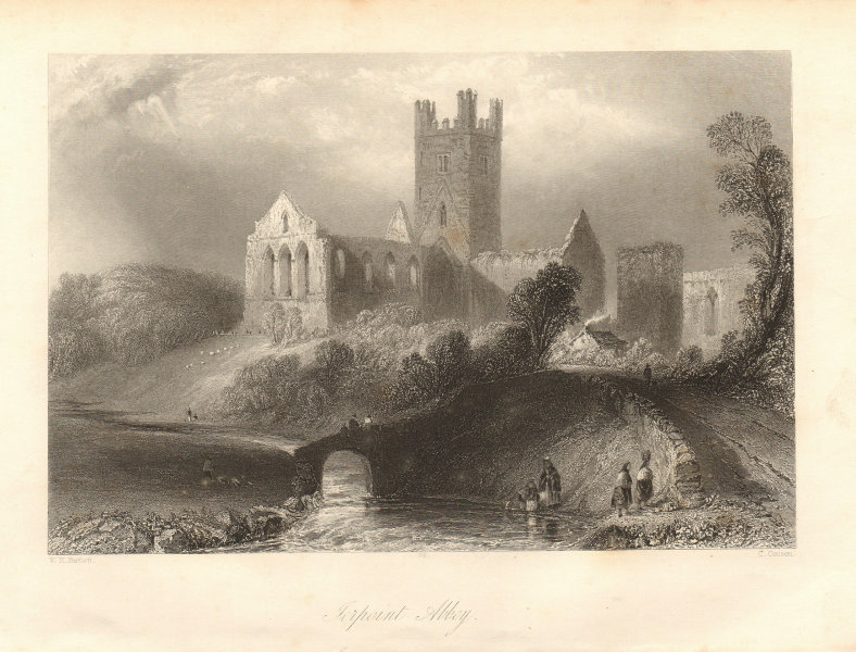 Jerpoint Abbey, Kilkenny. Ireland 1843 old antique vintage print picture