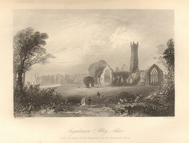 Adare Friary. Fitzgeralds castle. St Nicholas church. Limerick, Ireland 1843