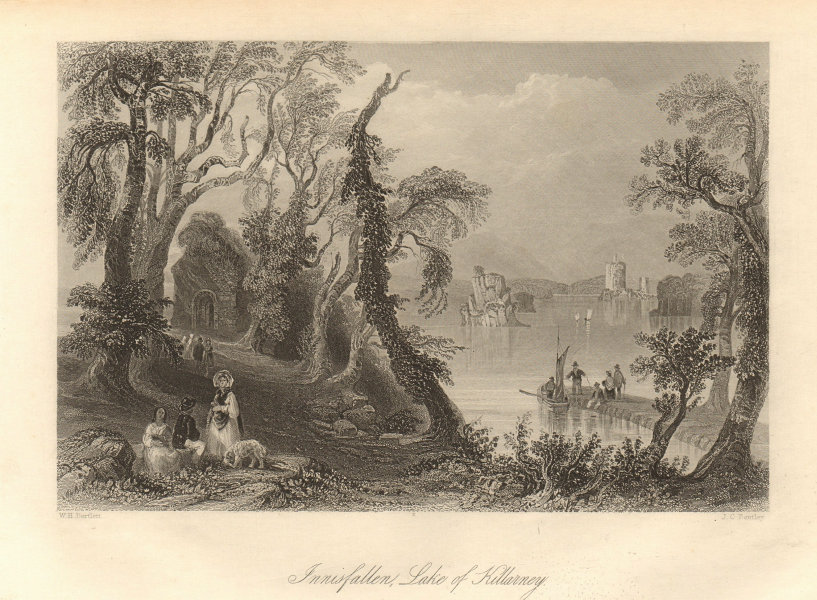 Innisfallen island, Lake of Killarney. Ireland 1843 old antique print picture