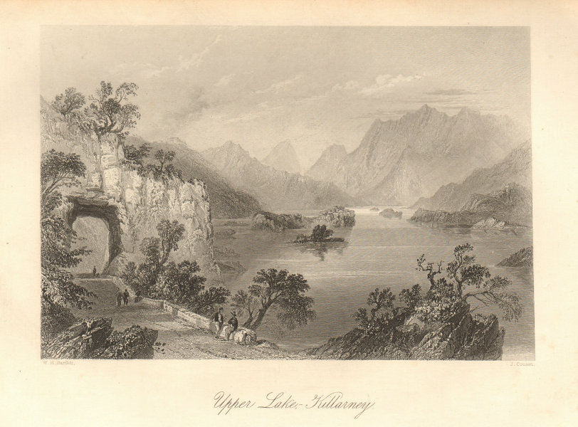 Upper Lake, Killarney. Ireland 1843 old antique vintage print picture