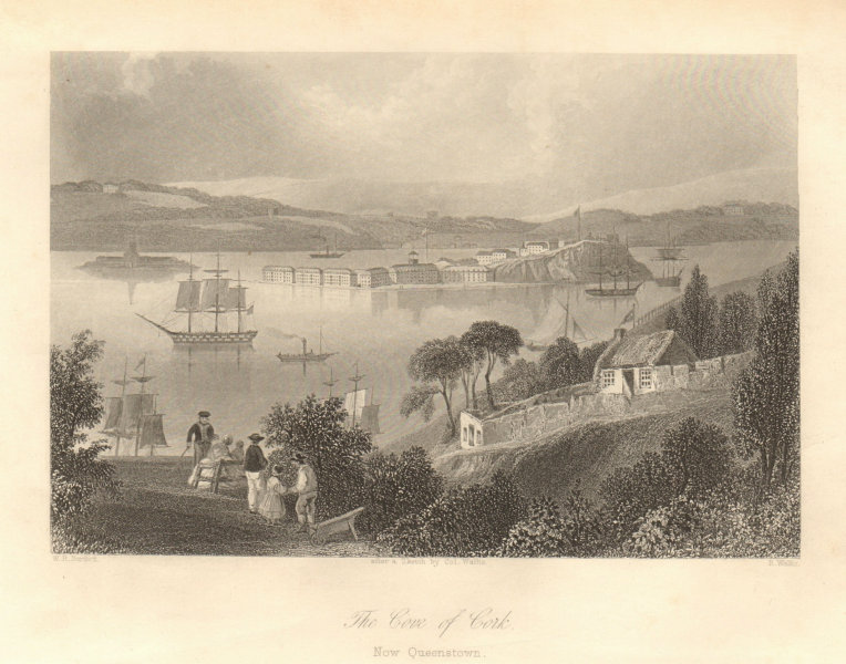 """Associate Product The Cove of Cork, """"now Queenstown"""". Cobh. Ireland 1843 old antique print"""