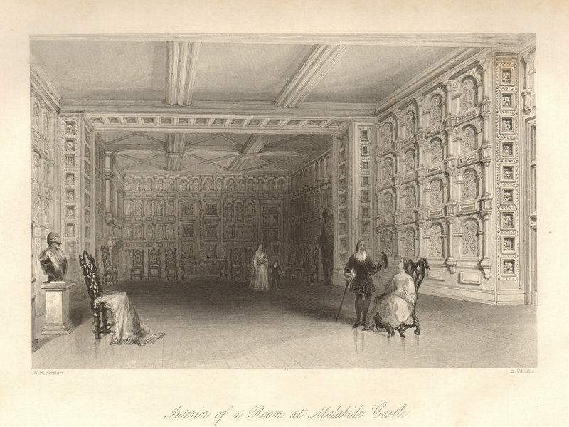 Interior of a Room at Malahide Castle, Dublin. Ireland 1843 old antique print